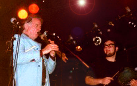 David Amram and unknown drummer at the first LIPS Festival October 2001! - Click Here To Learn More about this show and the upcoming LIPS II Festival happening in November!