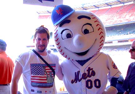 Frank and Mr. Met at Shea Stadium.
