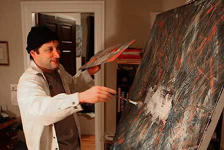 Frank Messina in process at his JC studio. Click Here To View some of Frank Messina's paintings. - Photo by Jeremy Hogan.