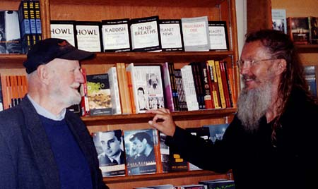 Lawrence Ferlinghetti and Ron Whitehead at City Lights Bookstore, San Francisco Summer 2004 Click Here To Learn More about City Lights - Phot by David Minton.
