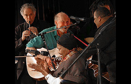l-r - David Amram, Pete Seeger, Odetta and Toshi Regan, Beacon NY Summer 2008 Photos by Maxine Smith and John Economos - Click Here To View More Photos at www.econosmith.com!